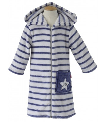 NAVY/GREY STRIPED DRESSING GOWN Sucre Orge