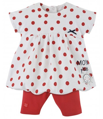 "BABY RED DRESS + LEGGINGS ""MON SOLEIL"" Sucre Orge"