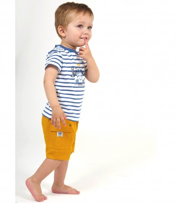 "BABY SHORTS + STRIPED T-SHIRT ""MOTOR CLUB"" Sucre Orge"