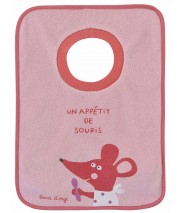 "PINK ""MOUSE"" PATTERNED BIB"