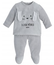 GREY 2-PIECES BABY SLEEPSUIT Sucre Orge