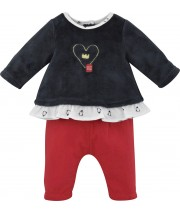 RED/DARK GREY BABY GIRL TROUSERS SET Sucre Orge