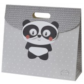 "GREY ""PANDA"" BAG GIFT WITH FLAP SUCRE D'ORGE"