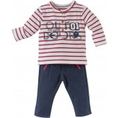 BOY NAVY BLUE/STRIPED RED TROUSERS SET