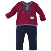 NAVY BLUE/RED BABY TROUSERS + T-SHIRT