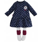 "BLUE ""HEARTS"" BABY GIRL DRESS + TIGHTS"