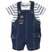 JEAN SHORT DUNGAREE + T-SHIRT