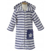 NAVY/GREY STRIPED DRESSING GOWN