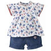"BABY BLOUSE + DENIM SHORTS ""FLAMINGO"""