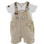 "BABY DUNGAREES + T-SHIRT ""NEW ADVENTURE"""