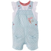 "BABY SHORT DUNGAREES + T-SHIRT ""HELLO SUMMER"""