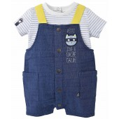 """CAT"" SHORT DUNGAREES + STRIPED T-SHIRT"