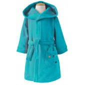 TURQUOISE HOODED BATH ROBE 2/8 YEARS