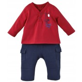 NAVY BLUE/RED TROUSERS+T-SHIRT DEAR DOG