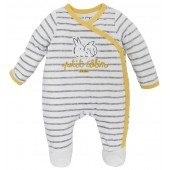 GREY/ECRU STRIPED BABY ROMPER