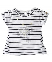 T-SHIRT BLANC RAYE FILLE 2/8 ANS sucre d'orge
