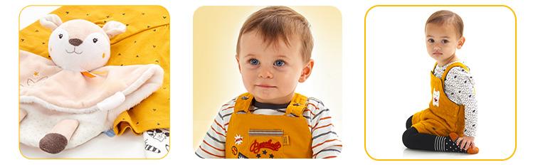 jaune sucredorge, vêtement jaune, vêtement bebe mixte