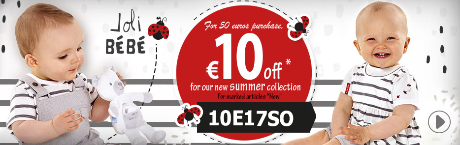 For 50 euros purchase, €10 off for our new summer collection code 10E17SO, come this way