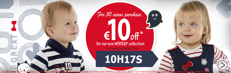 For 50 euros purchase, €10 off for our new winter collection code 10H17S, come this way