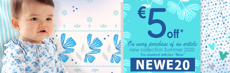 """-€5uros on every purchase of an article from the summer 2020 collection, marked """"New"""", code NEWE20"""